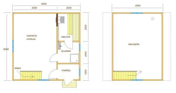 проект бани из пеноблоков 6х6 с просторной комнатой отдыха