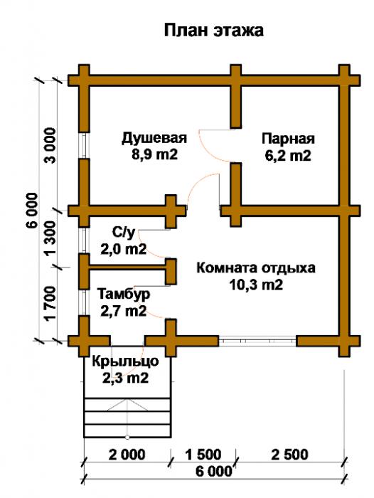 проект бани из пеноблоков 6х6