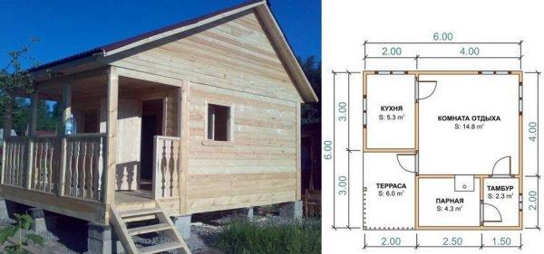 проект бани из пеноблоков 6х6 с кухней и террасой