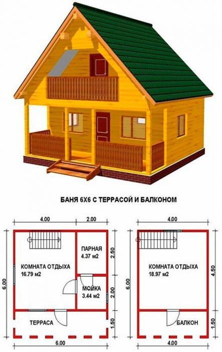 Проект бани с балконом