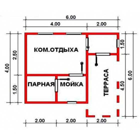 планировка бани 6 на 4 с террасой