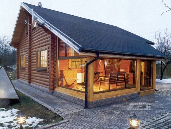 Фото дома с баней под одной крышей