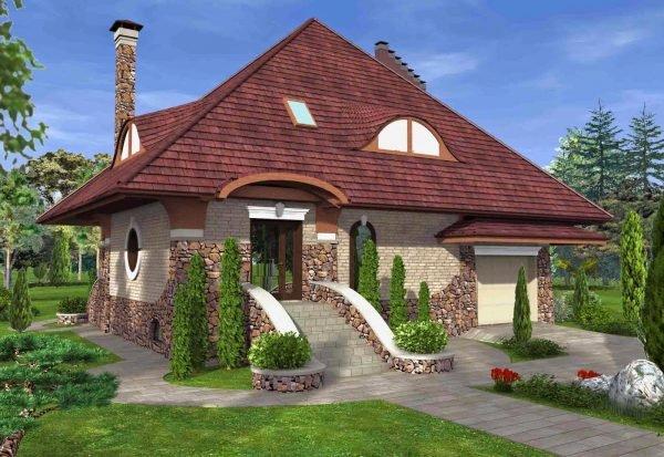 Проект дома с баней под одной крышей