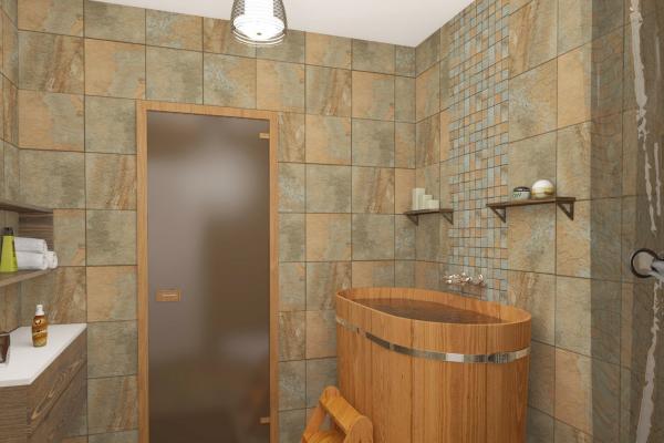 Плитка на стенах бани