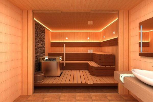 Новая баня с подсветкой