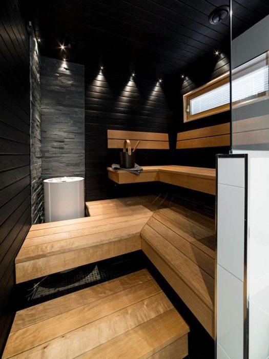 Современная баня в тёмных тонах