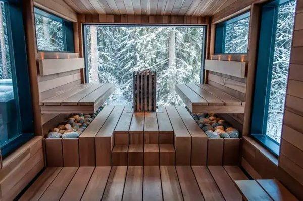 Тёплая баня с панорамным видом на лес