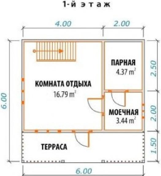 План 1-го этажа парилки