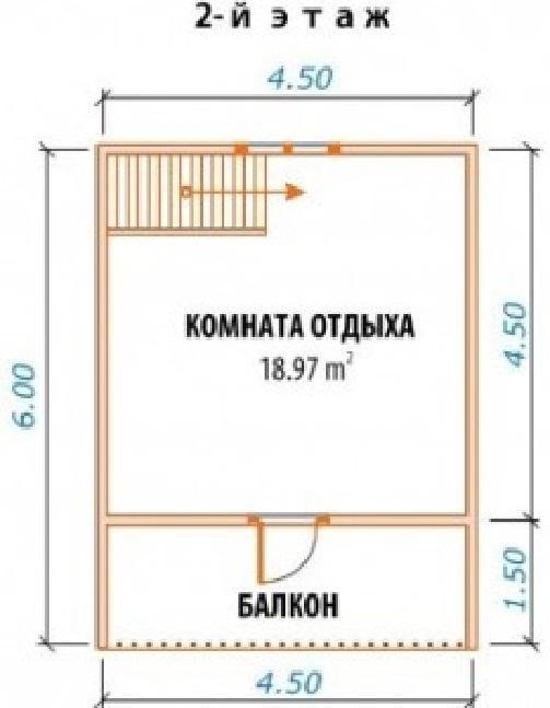 План 2-го этажа над баней