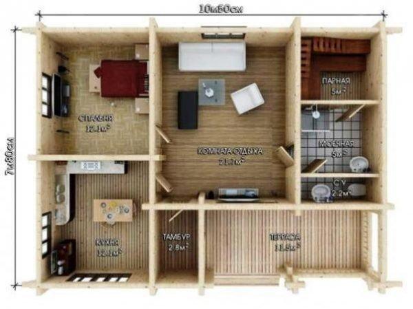 Планировка бани с комнатой отдыха, спальней и террасой