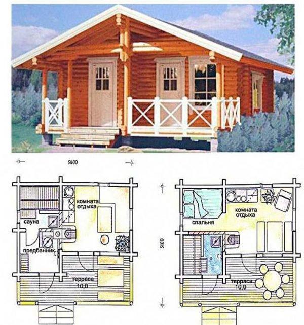 Проект одноэтажной бани с террасой и комнатой отдыха