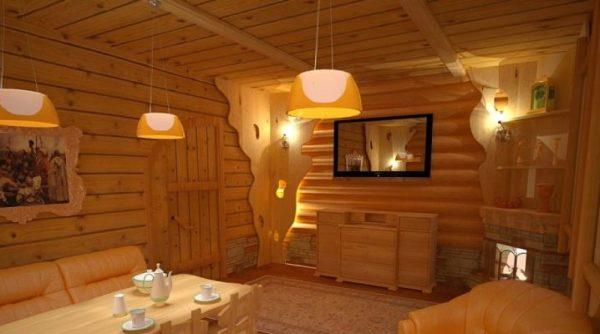 Комната отдыха с телевизором в бане