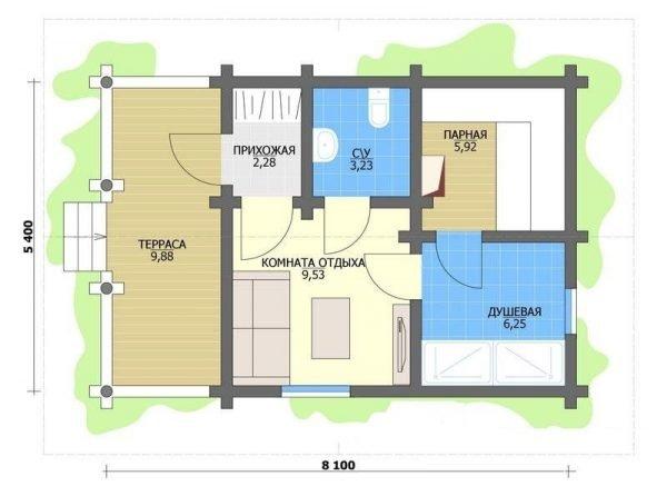 Планировка просторной финской бани из бруса с комнатой отдыха и террасой