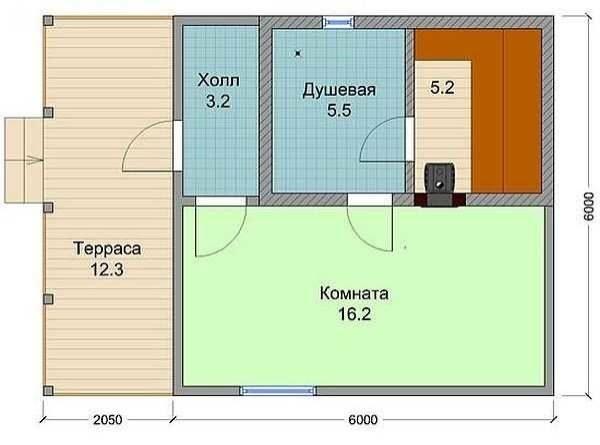 План финской бани из бруса с просторной комнатой и террасой