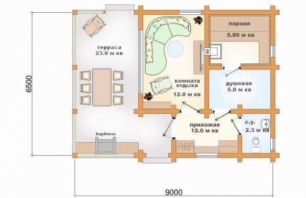 План бани из бруса с комнатой отдыха и просторной террасой