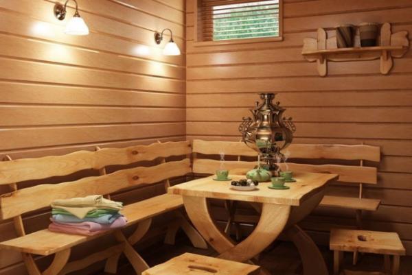 Уютная зона отдыха в предбаннике