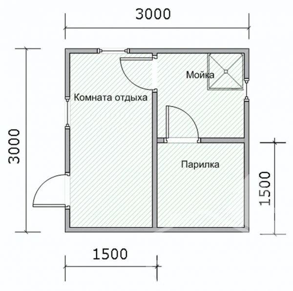 План бани размером 3х3 м