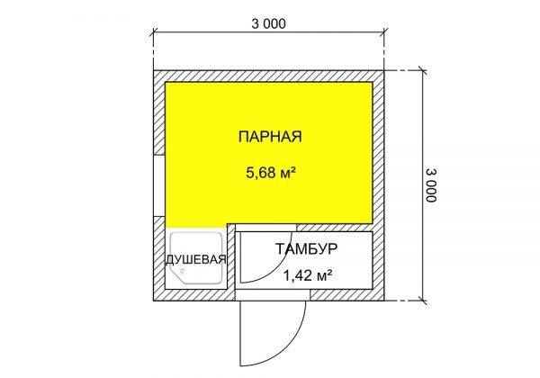План бани из кирпича 3х3 м