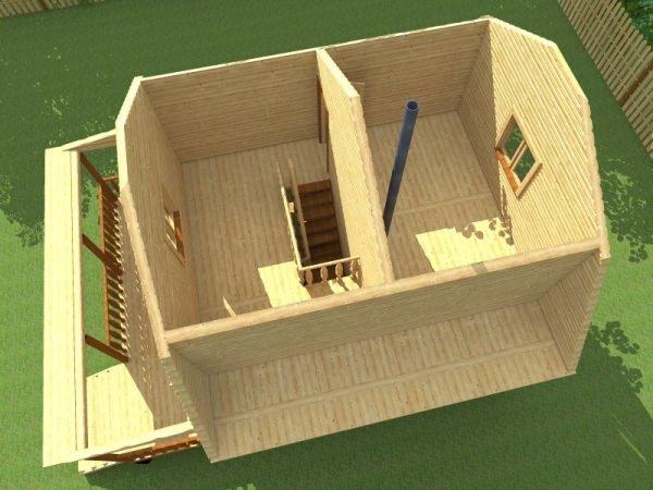 Макет бани с мансардой размером 6х8 м