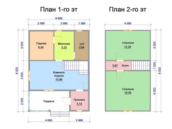 План бани с мансардой размером 6х8 м