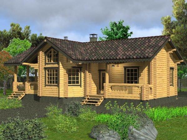 Проект гостевого дома с баней из светлого бруса