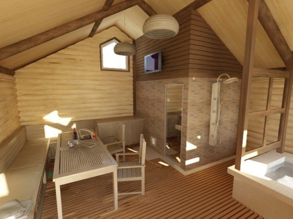 Жилая комната на мансарде бани