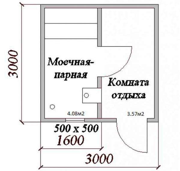 Проект бани 3х3 м