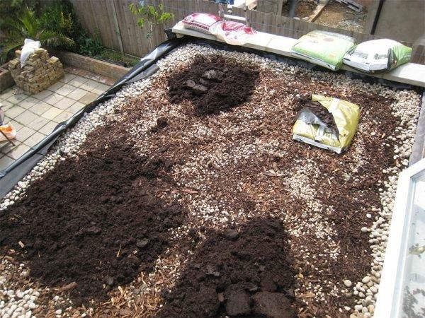 Размещение компоста и древесной коры