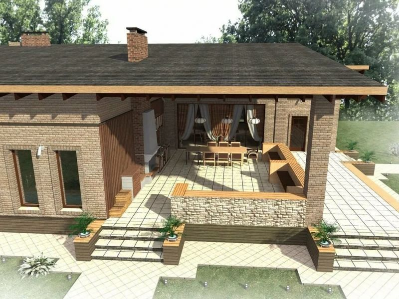 Проекты угловой бани с террасой и барбекю: фото
