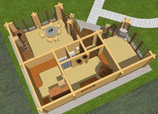 проект угловой бани с террасой и барбекю