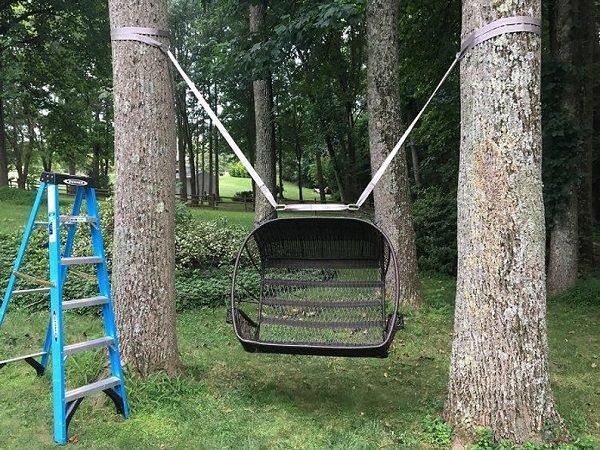 Качели между деревьями