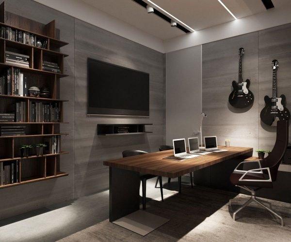 Домашний кабинет в подвале частного дома