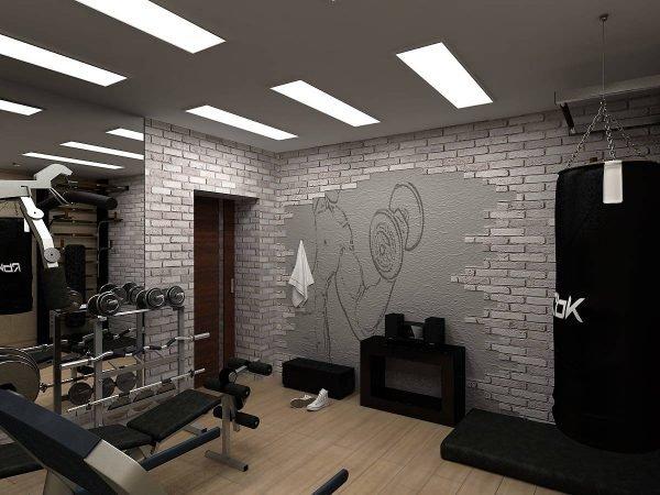 Домашний спортзал в подвале частного дома