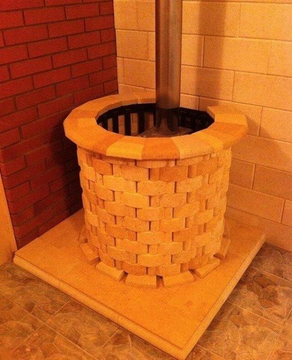 Круглая печь для бани из кирпича