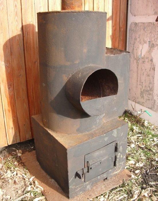 Круглая печь для бани из металла