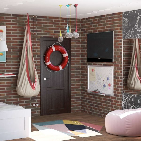 Комната для мальчика с кирпичной стеной