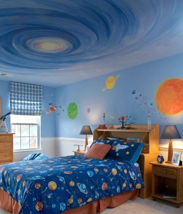Потолок с изображением галактики