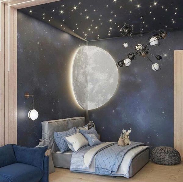 Обои «Космос» и светодиодные светильники в детской