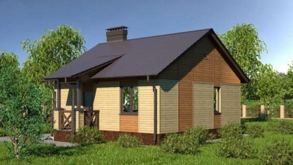 Дачный домик с двускатной крышей