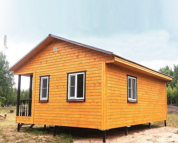 Дачный домик 6 на 8 кв. м со свайным фундаментом