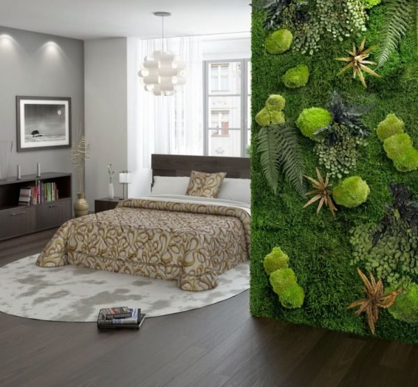 Стена из мха и ползучих растений в интерьере