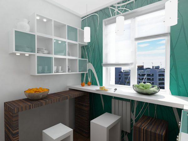 Подоконник-столешница в маленькой кухне