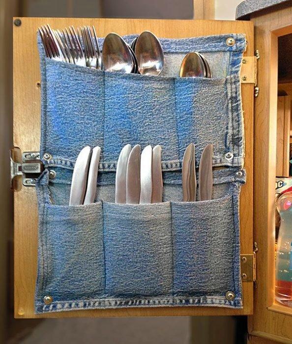 Кармашки из джинсовой ткани для столовых приборов