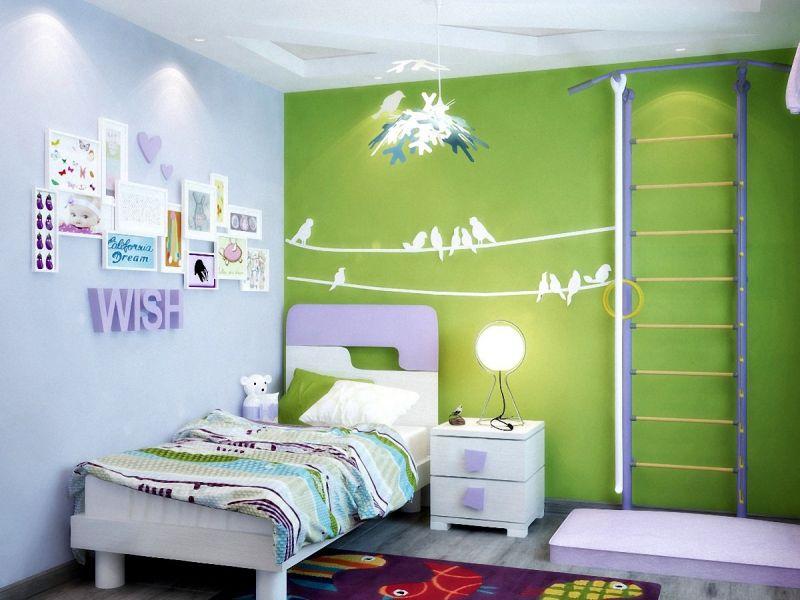 Детская комната с акцентной стеной: готовые интерьеры