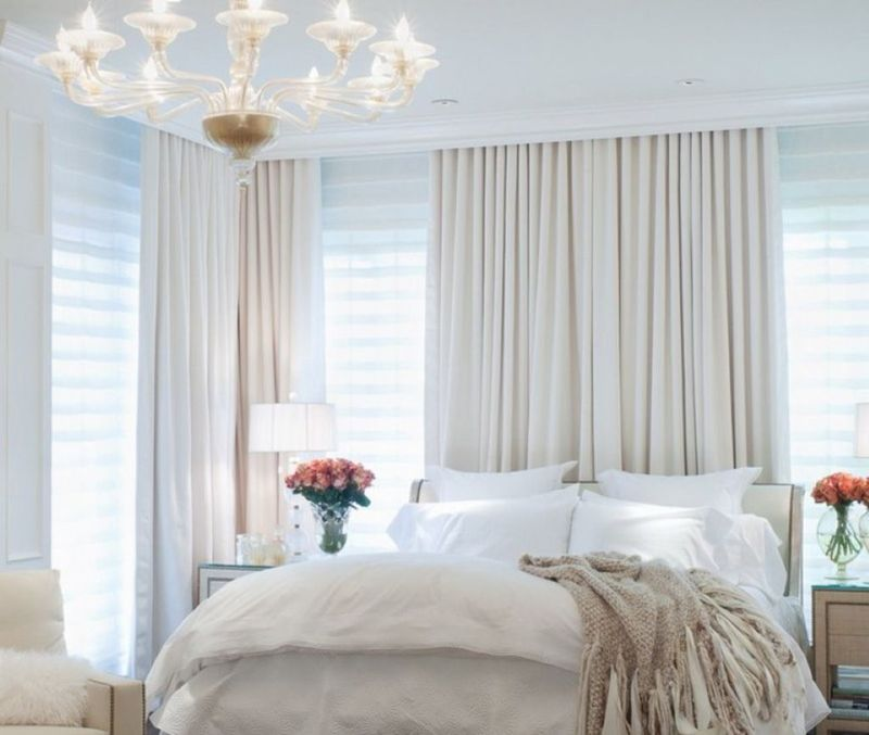Дизайн штор в белую спальню: варианты на фото