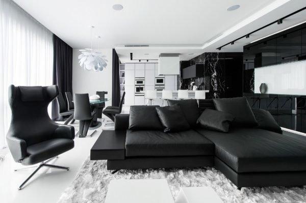 Гостиная в чёрно-белом цвете