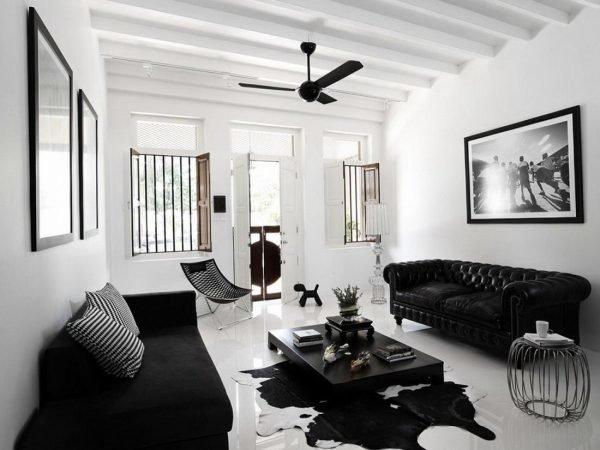 Комната в чёрно-белом цвете