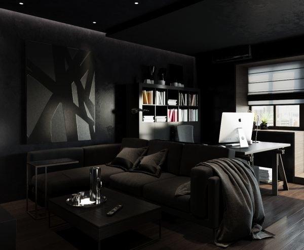 Комната с чёрными стенами и мебелью