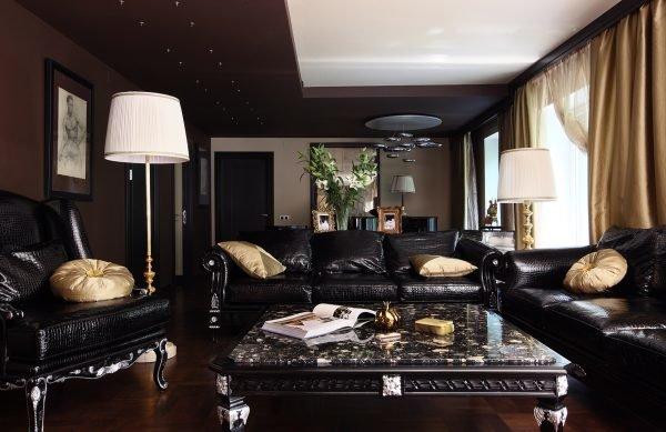 Гостиная в чёрно-коричневом цвете