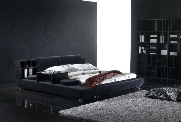 Чёрная мебель в интерьере спальни